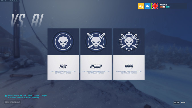 Changing difficulty in Overwatch