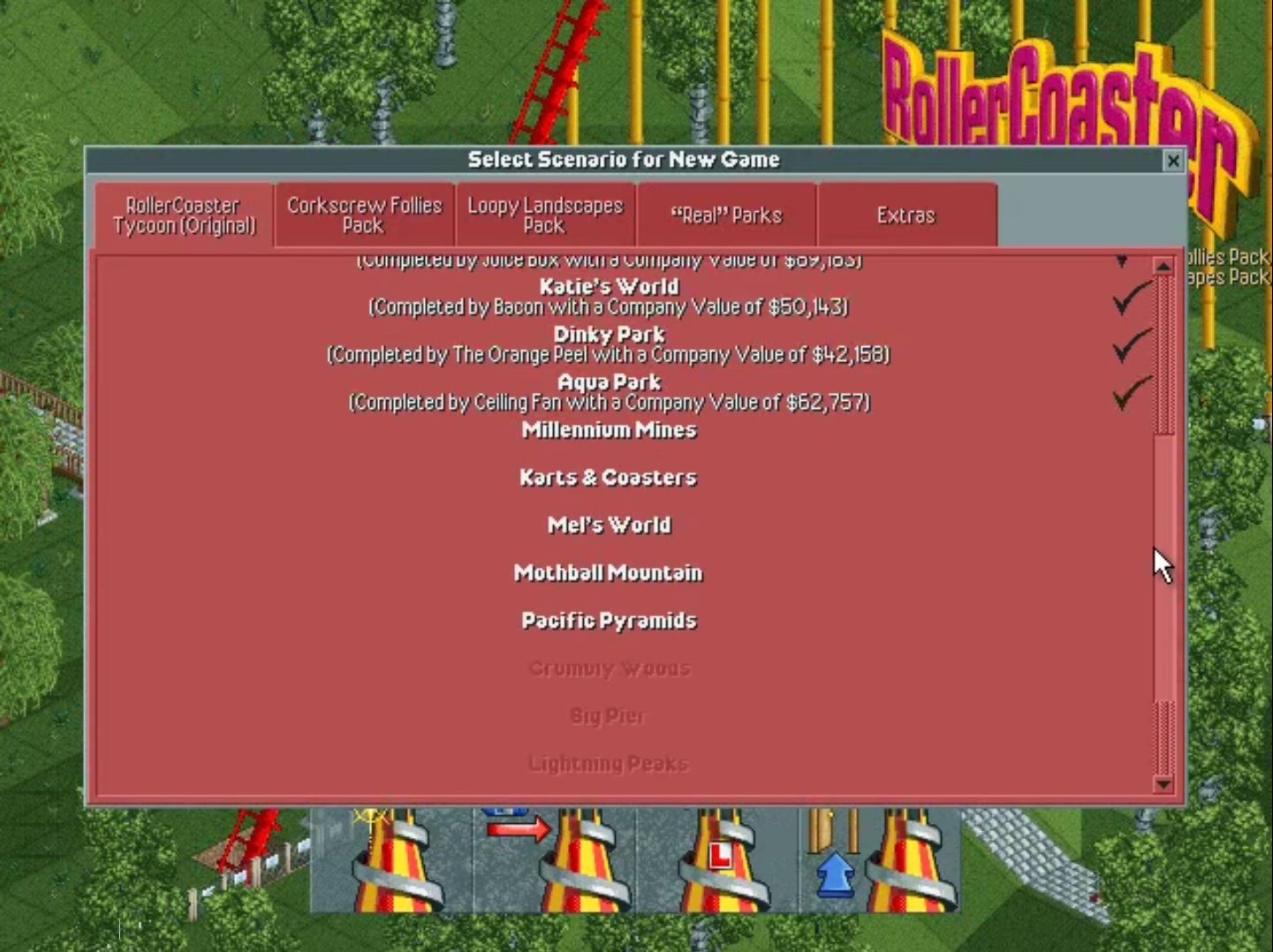 Roller Coaster Tycoon Level Select